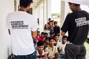 Raj aryan (left) and Saif (right) leading a session on menstruation with young men and boys as part of our Making Periods Normal project in India.