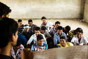 Young men and boys at a volunteer session as part of our Making Periods Normal project in India.
