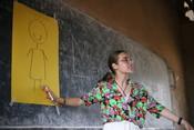 Elena, one of our ICS volunteers leading a in school workshop on menstruation and making sanitary pads in Jinja, Uganda.