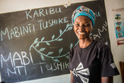 Neema, a peer educator, from our Girls Lets Be Leaders project, supporting out of school girls to claim their sexual rights and learn entrepreneurial skills that can help them earn a living and get