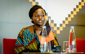 Eva, one of our youth power campaign leaders from Kenya speaking at the high level panel at the OGP summit in Georgia in 2018.